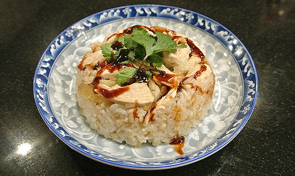 Sticky Rice with Sesame Chicken, ready to eat